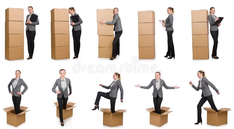 Составное изображение женщины с коробками стоковое фото rf