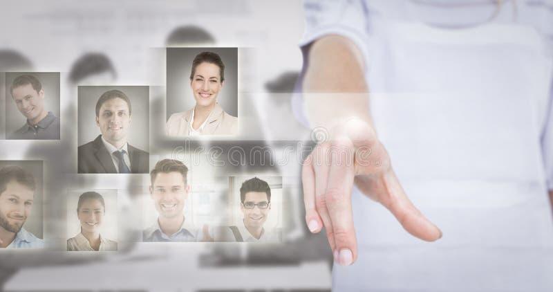 Составное изображение женщины указывая с ее пальцем стоковая фотография rf