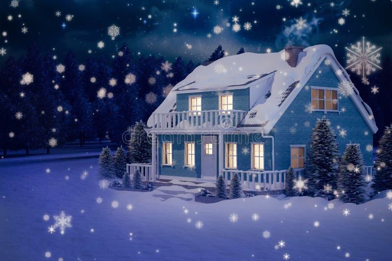Составное изображение загоренного дома бирюзы предусматриванного в снеге иллюстрация вектора