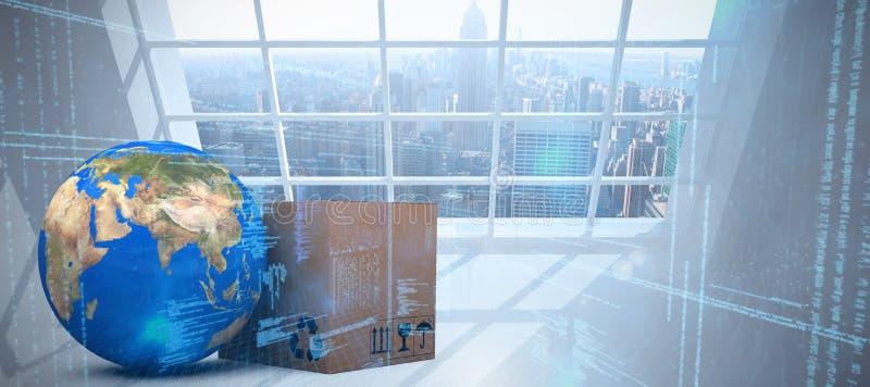 Составное изображение земли и картонной коробки планеты 3d против белой предпосылки иллюстрация вектора
