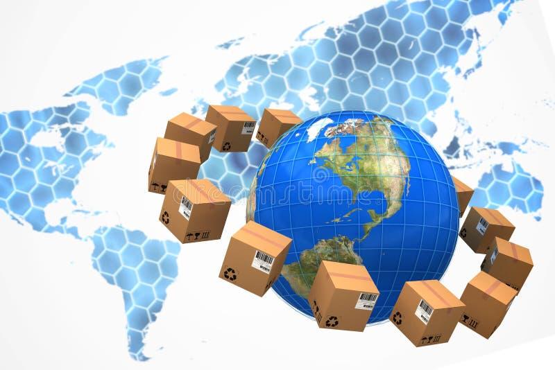 Составное изображение земли планеты между коричневыми картонными коробками иллюстрация штока