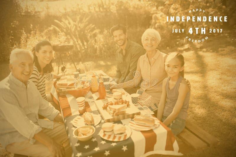 Составное изображение изображения машинной графики счастливое 4-ого из текста в июле иллюстрация штока