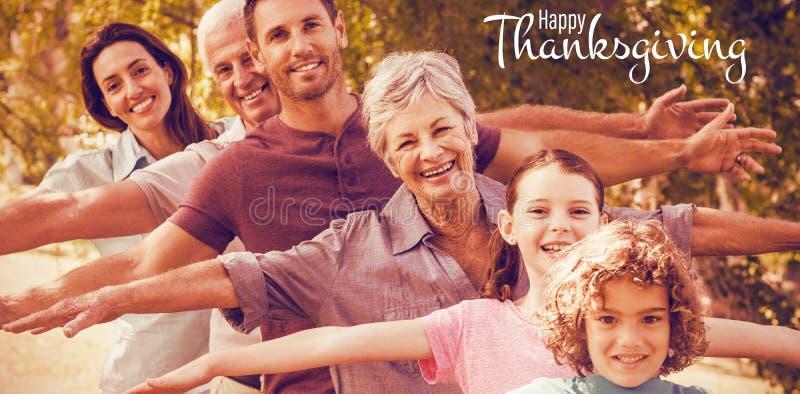 Составное изображение иллюстрации счастливого приветствия текста официальный праздник в США в память первых колонистов Массачусет стоковое фото