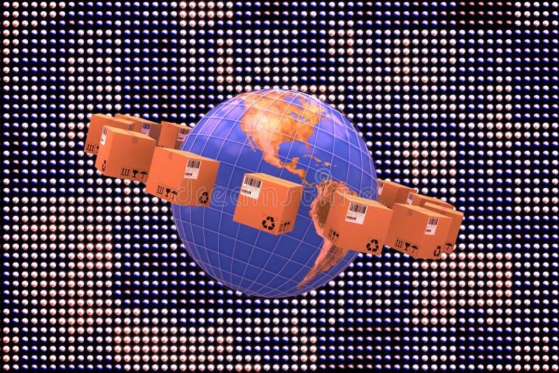 Составное изображение карты мира между коричневыми коробками иллюстрация вектора