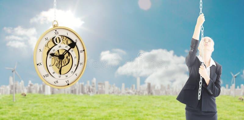 Составное изображение коммерсантки вытягивая цепь стоковое изображение rf