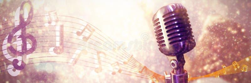 Составное изображение конца-вверх микрофона иллюстрация вектора