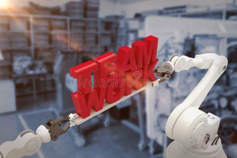 Составное изображение конца-вверх робототехнической руки держа сообщение работы команды стоковые фотографии rf