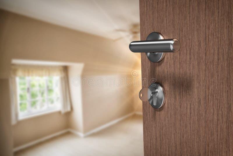 Составное изображение коричневой двери с ключом стоковое фото rf