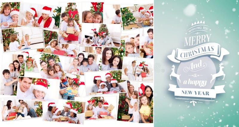 Составное изображение коллажа семей празднуя рождество стоковая фотография
