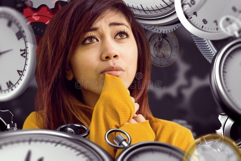 Составное изображение красивой молодой женщины смотря прочь в парке стоковая фотография rf
