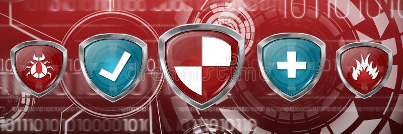 Составное изображение красных и голубых символов иллюстрация штока