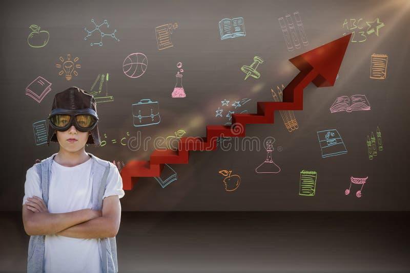 Составное изображение мальчика претендуя быть пилотом авиации стоковая фотография