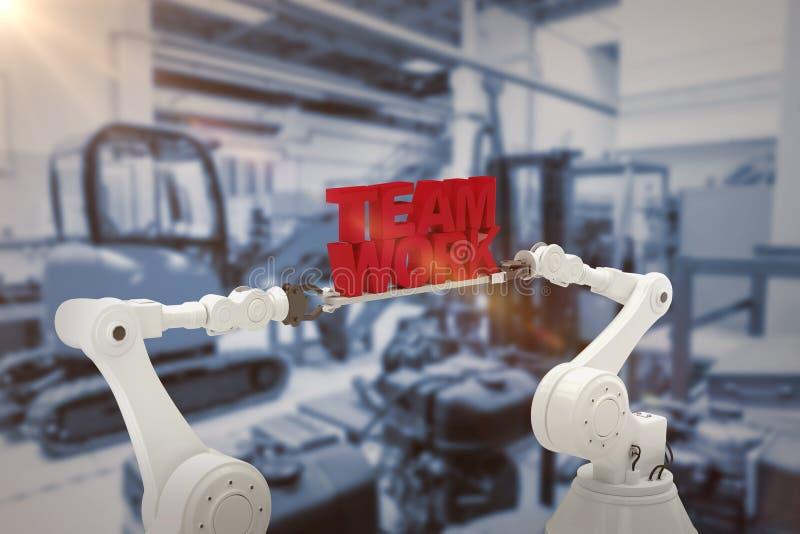 Составное изображение механически рук держа красную команду работает сообщение над белой предпосылкой стоковое изображение