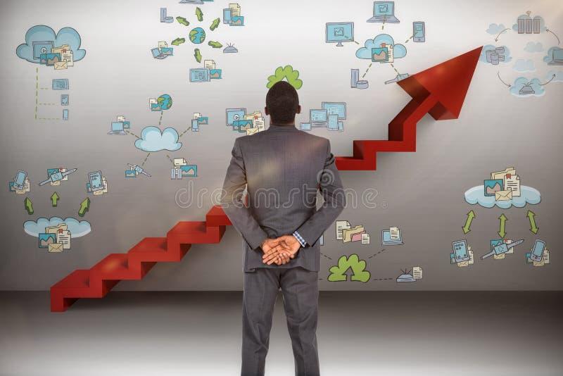 Составное изображение молодого бизнесмена стоя с руками позади назад стоковые изображения