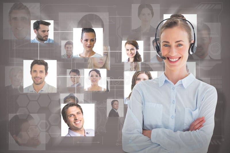 Составное изображение портрета исполнительной власти центра телефонного обслуживания стоковое фото rf
