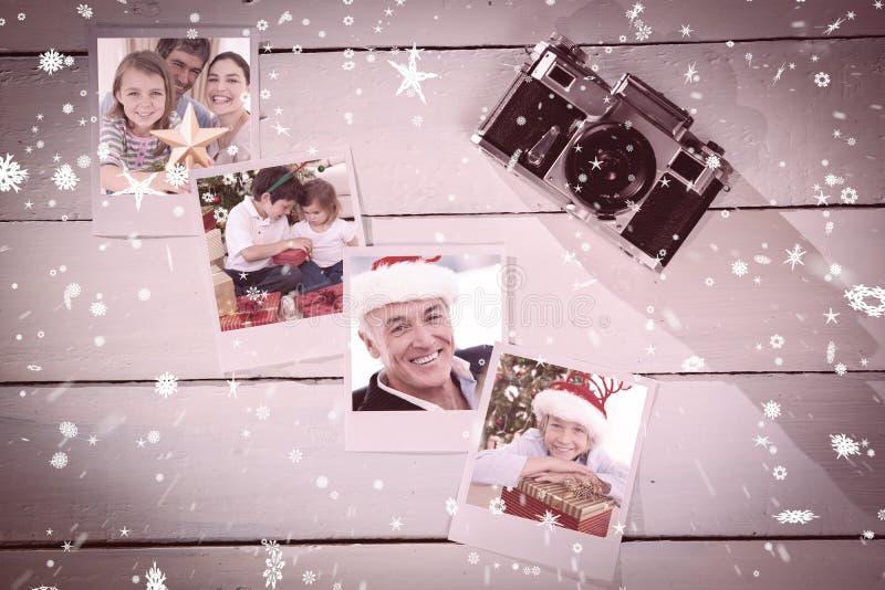 Составное изображение портрета рождества семьи стоковые изображения