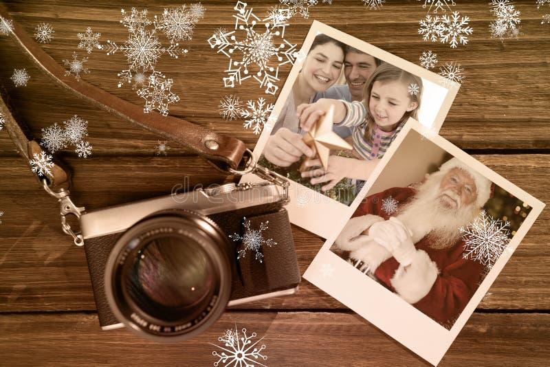 Составное изображение портрета рождества семьи стоковое изображение