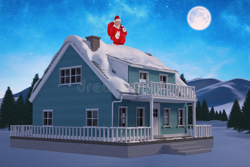Составное изображение портрета Санта Клауса указывая пока носящ сумку рождества стоковая фотография rf