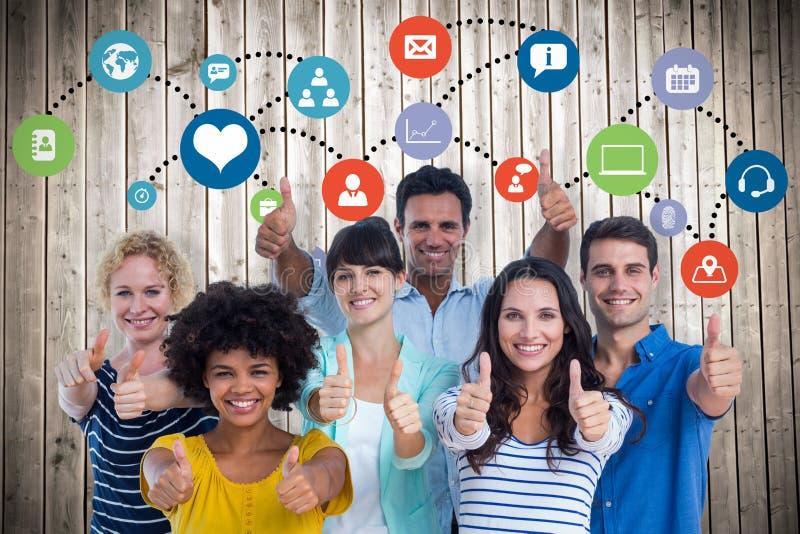 Составное изображение портрета творческой команды показывать большие пальцы руки вверх стоковое изображение