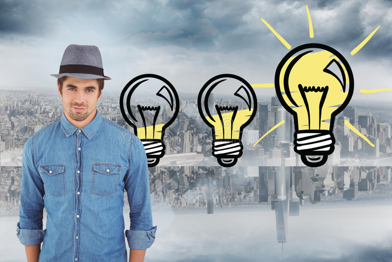 Составное изображение портрета шляпы уверенно битника нося стоковые фото