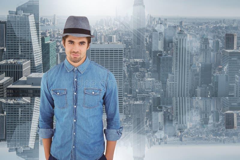Составное изображение портрета шляпы уверенно битника нося стоковые фотографии rf