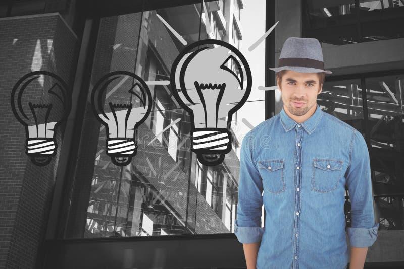Составное изображение портрета шляпы уверенно битника нося стоковое фото