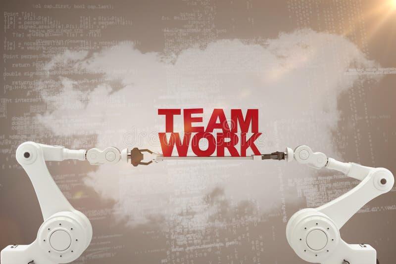 Составное изображение робототехнической руки держа красный текст работы команды над бежевой предпосылкой стоковая фотография rf