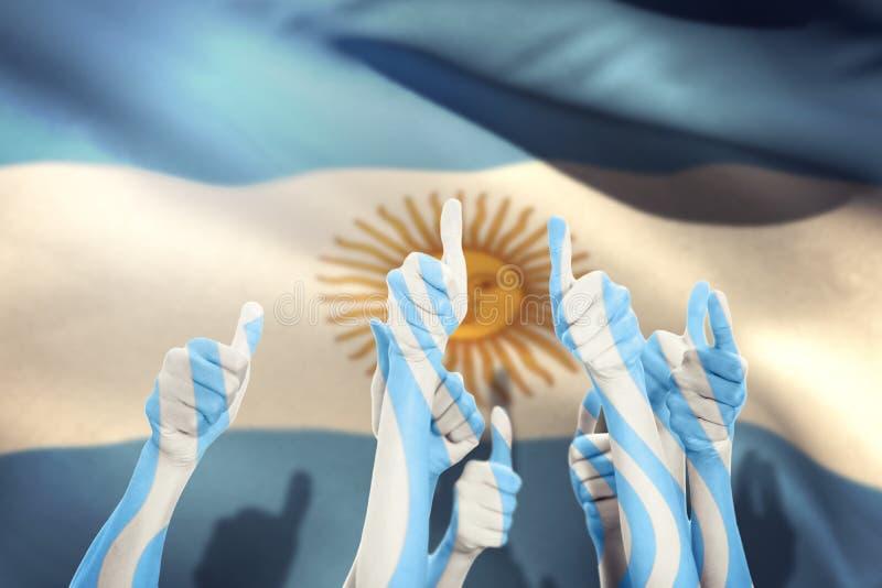 Составное изображение рук вверх и поднятых больших пальцев руки иллюстрация вектора