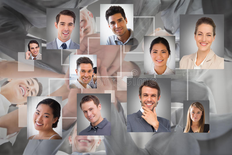 Составное изображение рук команды дела стоящих совместно стоковое изображение rf