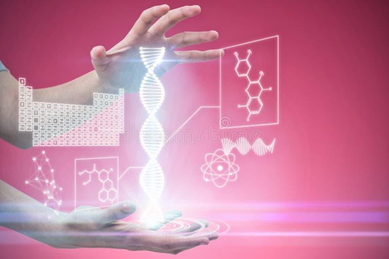 Составное изображение рук показывать против розовой предпосылки стоковые фотографии rf