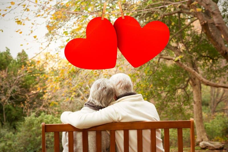 Составное изображение сердец влюбленности смертной казни через повешение стоковое фото