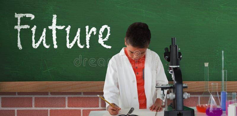 Составное изображение сочинительства школьника на блокноте стоковое фото