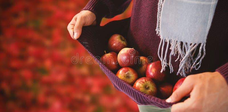 Составное изображение средний-раздела яблок нося человека в свитере стоковая фотография