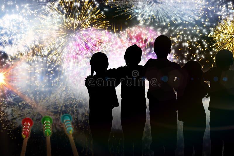 Составное изображение стоять детей силуэта бесплатная иллюстрация