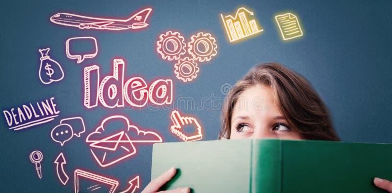 Составное изображение студента держа книгу стоковые изображения rf