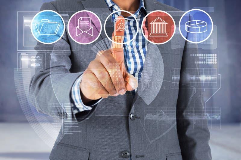 Составное изображение сфокусированного бизнесмена указывая на меню стоковые фото