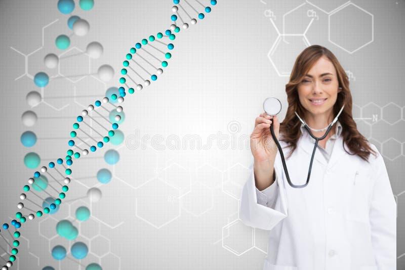 Составное изображение счастливого доктора используя стетоскоп стоковое изображение rf