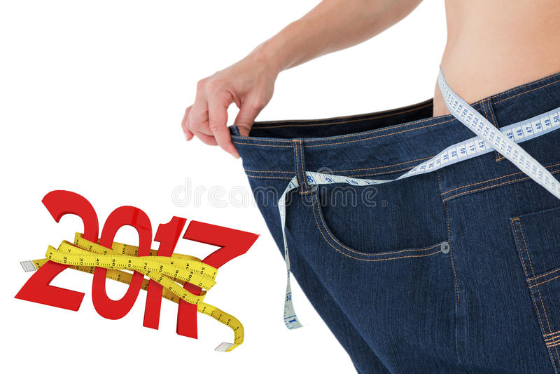 Составное изображение талии женщины которое потеряло много вес стоковые фотографии rf