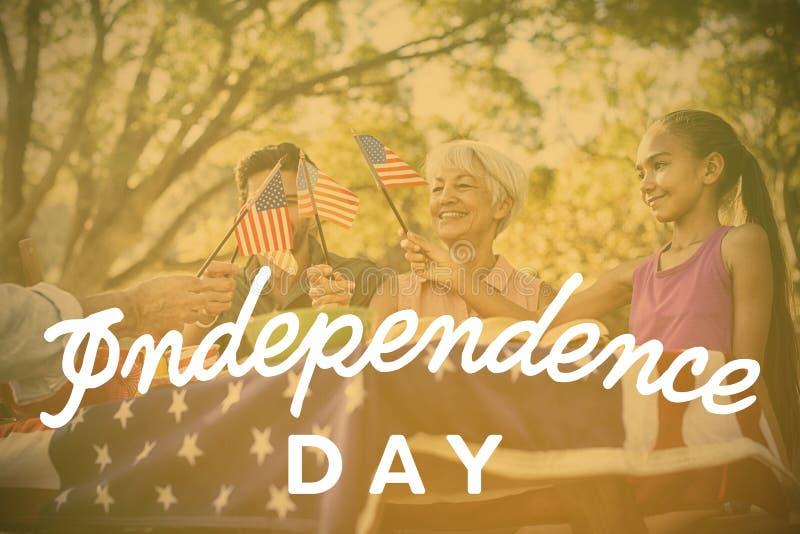 Составное изображение текста Дня независимости против белой предпосылки иллюстрация вектора