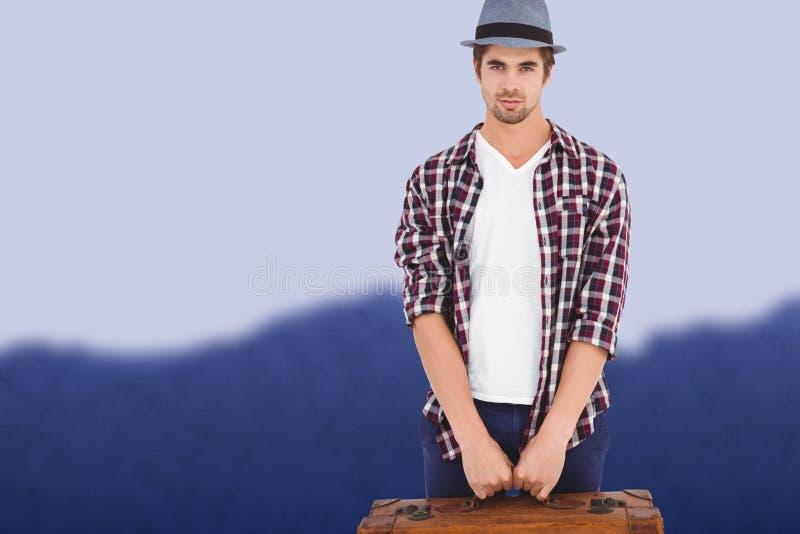 Составное изображение уверенно человека держа портфель стоковое изображение rf