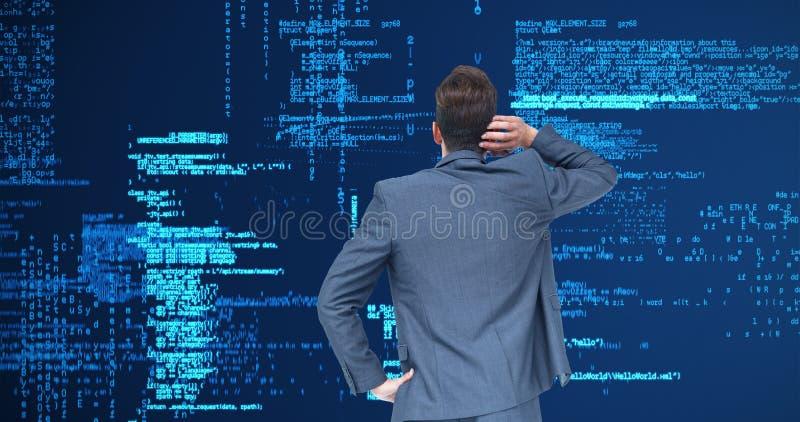 Составное изображение думая бизнесмена стоковые фотографии rf