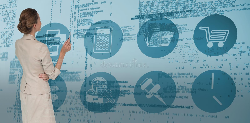 Составное изображение думая коммерсантки стоковое изображение