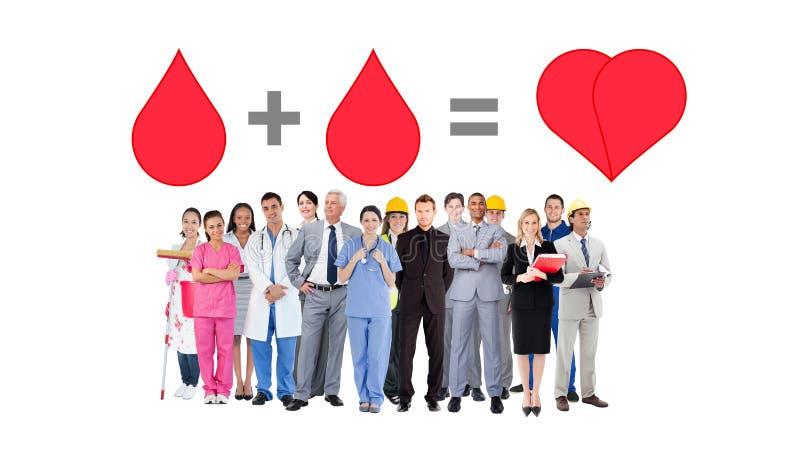 Составное изображение усмехаясь группы людей с различными работами стоковое изображение