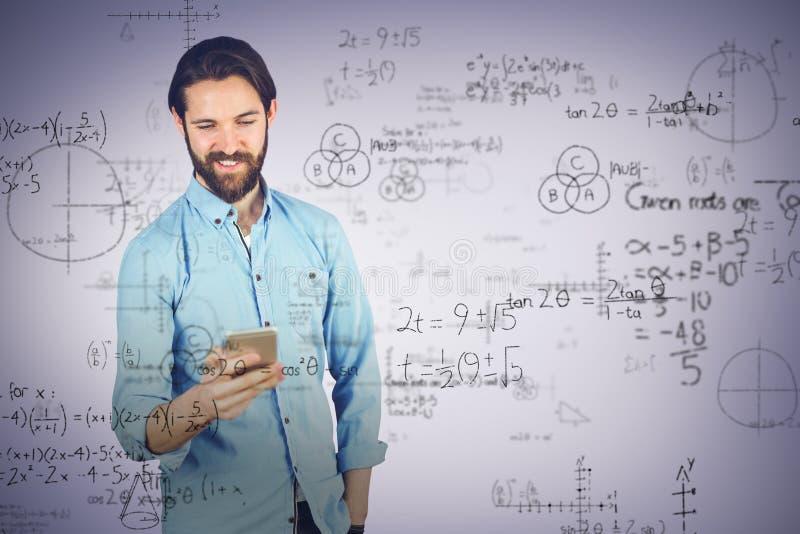 Составное изображение усмехаясь человека используя мобильный телефон стоковое изображение rf