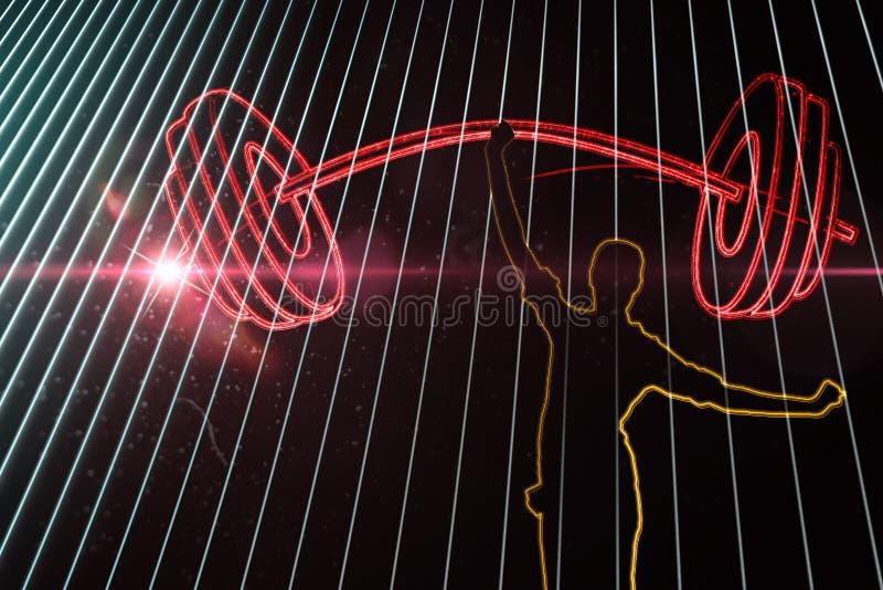 Составное изображение успешной коммерсантки веселя над белой предпосылкой стоковая фотография