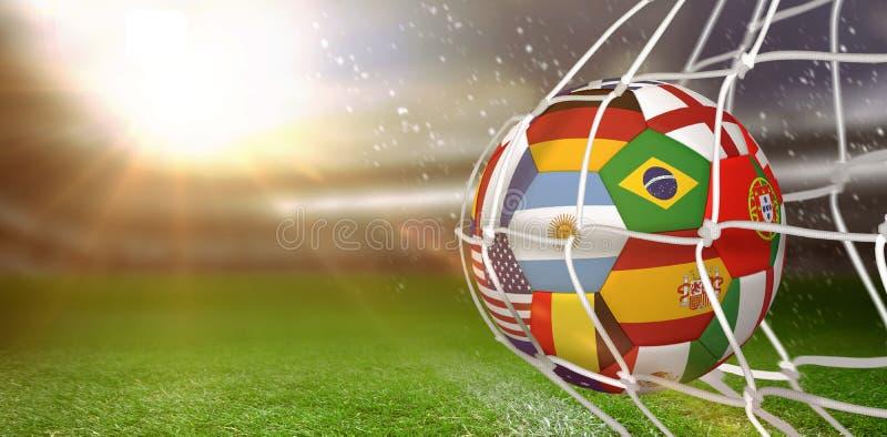 Составное изображение футбольного мяча в сети цели стоковая фотография