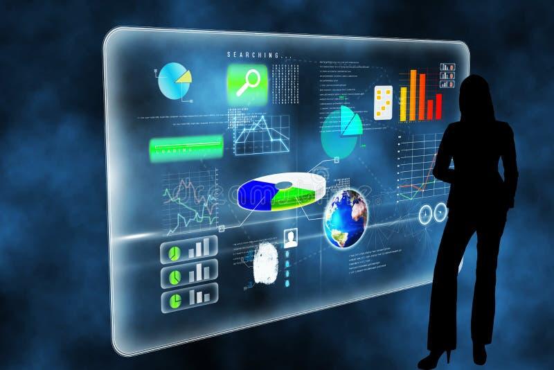 Составное изображение футуристического интерфейса технологии иллюстрация штока