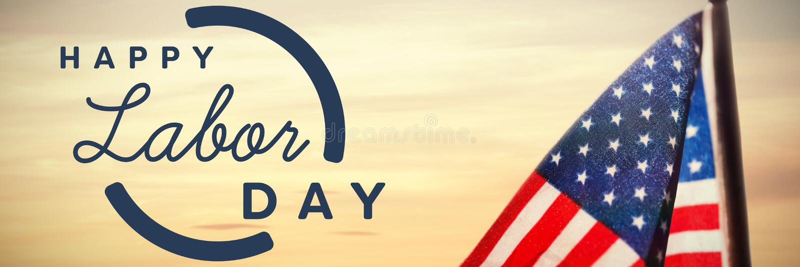 Составное изображение цифрового составного изображения счастливого текста Дня Трудаа с голубым планом стоковое изображение rf