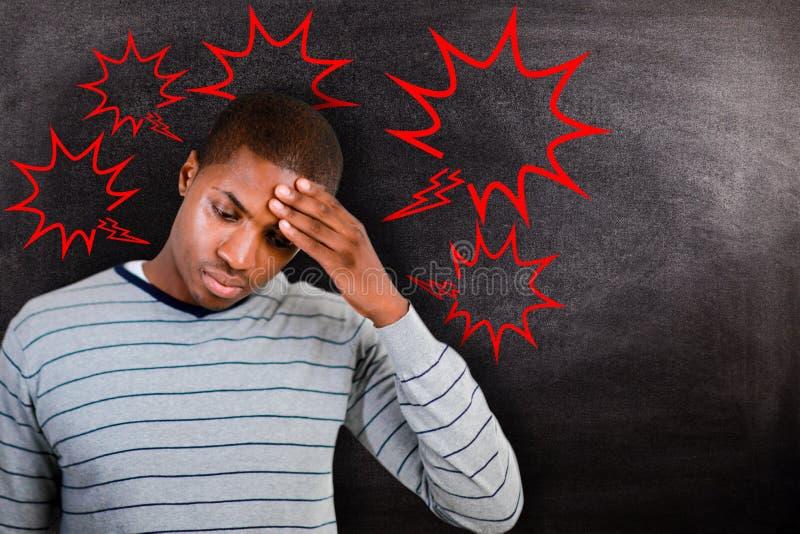 Составное изображение человека с головной болью стоковое изображение rf