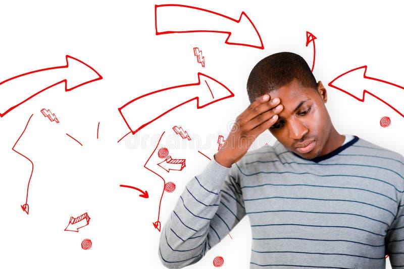 Составное изображение человека с головной болью стоковая фотография rf